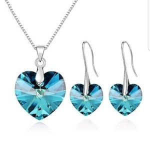 Blue Crystal Heart Necklace and Earring Set